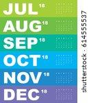 template of calendar for 2018  | Shutterstock .eps vector #614555537