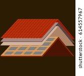 roof construction worker repair ... | Shutterstock .eps vector #614557967