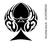 tattoo sketch tribal spades... | Shutterstock .eps vector #614558033
