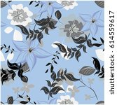 vector seamless pattern flowers ... | Shutterstock .eps vector #614559617
