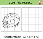 funny little ladybug. copy the... | Shutterstock .eps vector #614574173