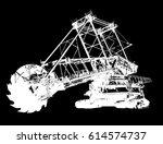 bucket wheel excavator...   Shutterstock .eps vector #614574737