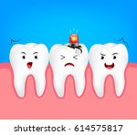 decayed tooth with siren.... | Shutterstock .eps vector #614575817
