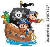 pirate boat theme 1   eps10... | Shutterstock .eps vector #614576327