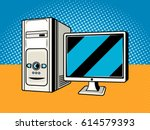 personal computer comic book... | Shutterstock .eps vector #614579393
