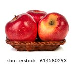 apples in wicker bowl isolated... | Shutterstock . vector #614580293