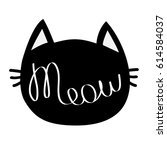 black cat head. meow lettering... | Shutterstock . vector #614584037