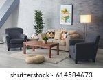modern interior of living room | Shutterstock . vector #614584673