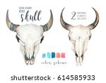 watercolor bohemian cow skull... | Shutterstock . vector #614585933