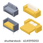 a set of sofas for the living... | Shutterstock .eps vector #614595053