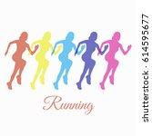 sport running woman silhouette... | Shutterstock .eps vector #614595677