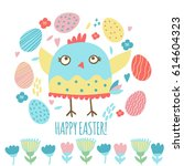 cute easter card with chicken ... | Shutterstock .eps vector #614604323