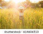 portrait of happy beautiful... | Shutterstock . vector #614606513