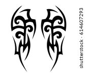 tattoo sketch tribal vector... | Shutterstock .eps vector #614607293