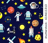 seamless pattern with space... | Shutterstock .eps vector #614611313
