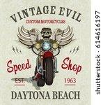 vintage custom motorcycle ... | Shutterstock .eps vector #614616197