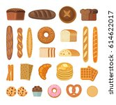bread and rolls collection.... | Shutterstock .eps vector #614622017