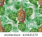 seamless hippie pattern with... | Shutterstock .eps vector #614631173