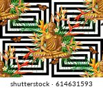 seamless hippie pattern with... | Shutterstock .eps vector #614631593