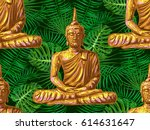 seamless hippie pattern with... | Shutterstock .eps vector #614631647