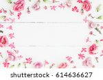 flowers composition. frame made ... | Shutterstock . vector #614636627