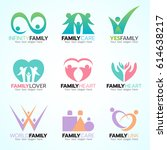 family and people concept logo... | Shutterstock .eps vector #614638217