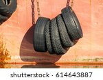 Small photo of Tires-fenders aboard the ship