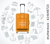 orange travel suitcase with the ... | Shutterstock .eps vector #614648723
