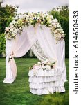 Wedding Arch And Table On Gree...
