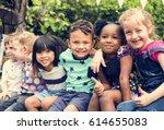 group of kindergarten kids... | Shutterstock . vector #614655083