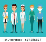 set of avatar doctor character... | Shutterstock .eps vector #614656817