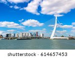 erasmus bridge in rotterdam in... | Shutterstock . vector #614657453