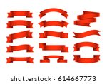 Different retro style ribbons set. Ready for text | Shutterstock vector #614667773