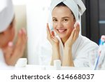fresh woman taking care of her... | Shutterstock . vector #614668037