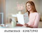 restful young woman with cup of ... | Shutterstock . vector #614671943