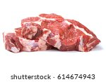 raw beef steaks isolated on... | Shutterstock . vector #614674943