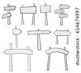 set of hand drawn wooden... | Shutterstock .eps vector #614674997