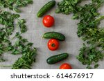 fresh vegetables and greens on... | Shutterstock . vector #614676917