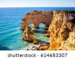 praia da marinha in algavre... | Shutterstock . vector #614683307