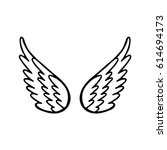 hand drawn angel or bird wing.... | Shutterstock .eps vector #614694173