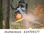 the harvester working in a... | Shutterstock . vector #614705177