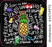 summer poster on black...   Shutterstock .eps vector #614719973