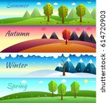 12 months of the year. weather... | Shutterstock .eps vector #614720903