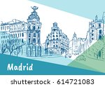 sketch of gran via street in... | Shutterstock .eps vector #614721083