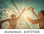 beach volleyball players in...   Shutterstock . vector #614727263