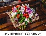 bouquet of flowers  bunch of... | Shutterstock . vector #614728307