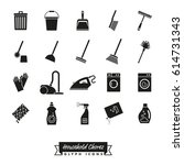 housework symbols collection.... | Shutterstock .eps vector #614731343