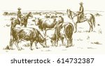 cattle drive by two cowboys.... | Shutterstock .eps vector #614732387
