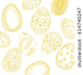 yellow easter pattern background | Shutterstock .eps vector #614740247