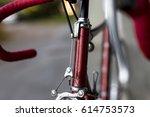 vintage race bicycle detail | Shutterstock . vector #614753573